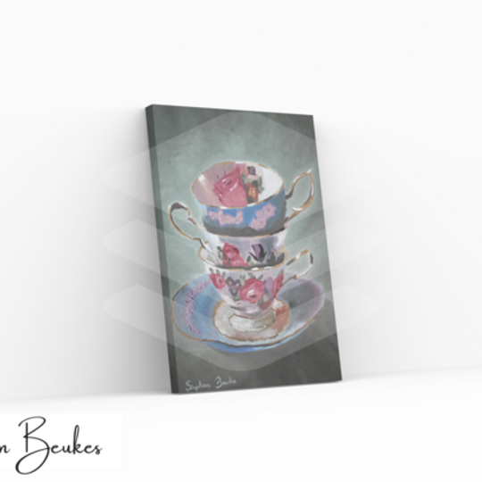 Three Teacups | Original Prints on Canvas