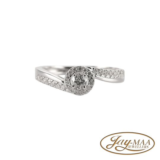 9ct White Gold Diamond Halo Ring - Love Swirl