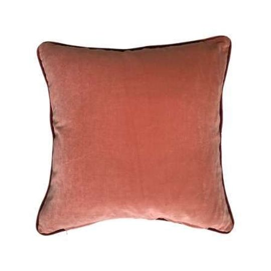 Luxury Cotton Velvet Cushion in Coral Pink & Charcoal