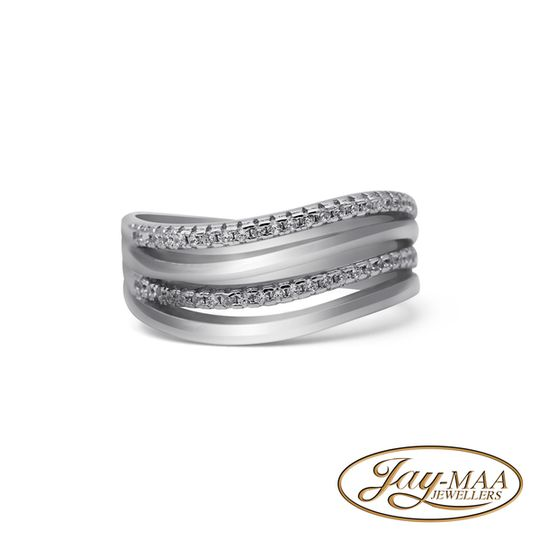 Sterling Silver Cubic Zirconia Ring - Low Tide