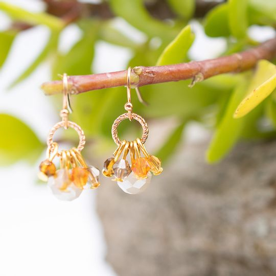 Mini Crystal Cluster Earrings (Gold Finish)