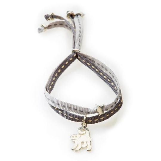 CHEEKY Bracelet with ribbons Monkey - Dark grey/Light Grey