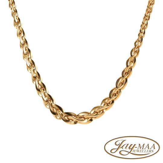 9ct Yellow Gold Wheat Shaped Italian Necklace