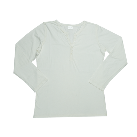 Ladies Long Sleeve - Buttons Cream