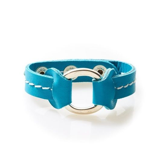 STUD Leather Bracelet with studs Turquoise
