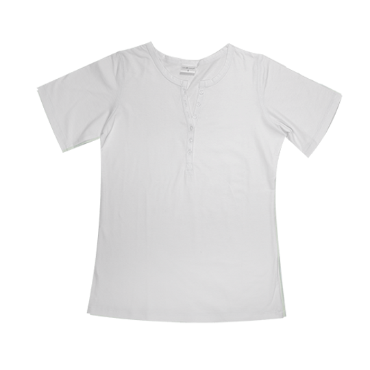 Ladies Short Sleeve - Buttons White