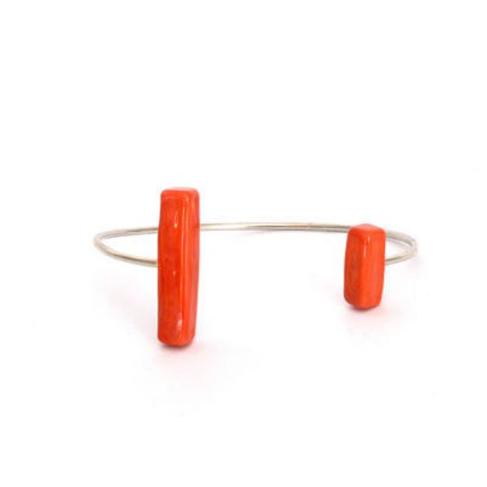 Silver Open Bangle with Glass Uneven Bars