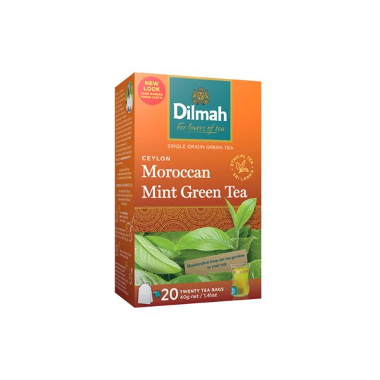 Dilmah Ceylon Green Tea with Moroccan Mint (20 x 2g tagged tea bags)