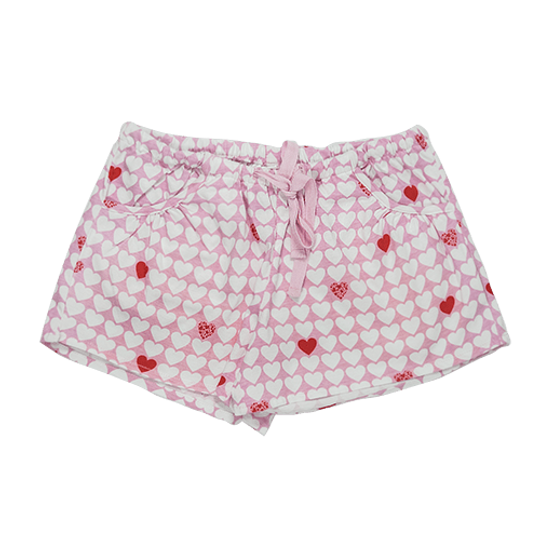 Girls Short Pants - Pockets Hearts (Cotton Knit)