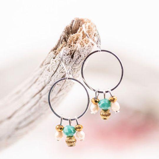 Hoop Earrings with Crystal Cluster