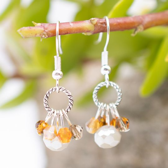 Mini Crystal Cluster Earrings (Silver Finish)