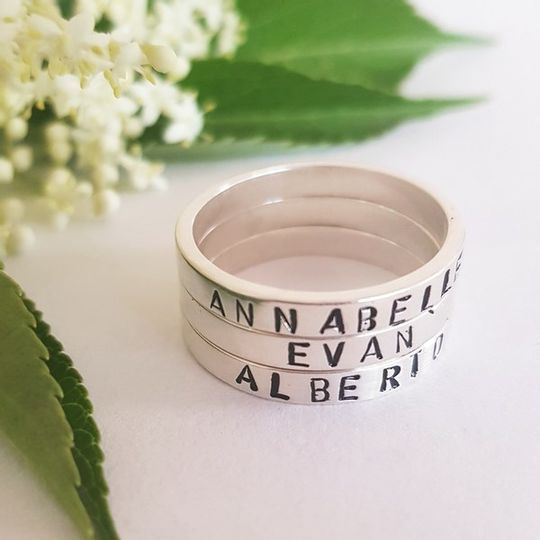 Hand-stamped personalise sterling silver stacking rings (price per ring and not per set)