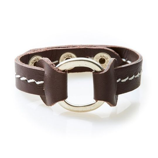 STUD Leather Bracelet with studs Dark Brown