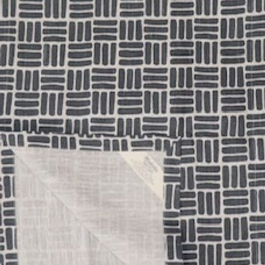 Charcoal grey weave printed runner on natural linen