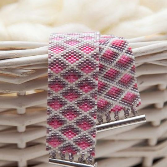 Pink Geometric Peyote Bracelet
