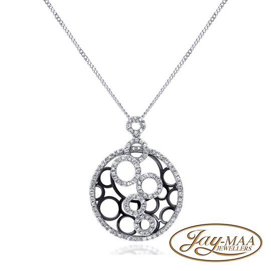 9ct White Gold Diamond Pendant & Chain - Circles