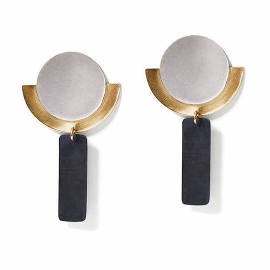 Silver, Gold & Charcoal Round Deco Dangles