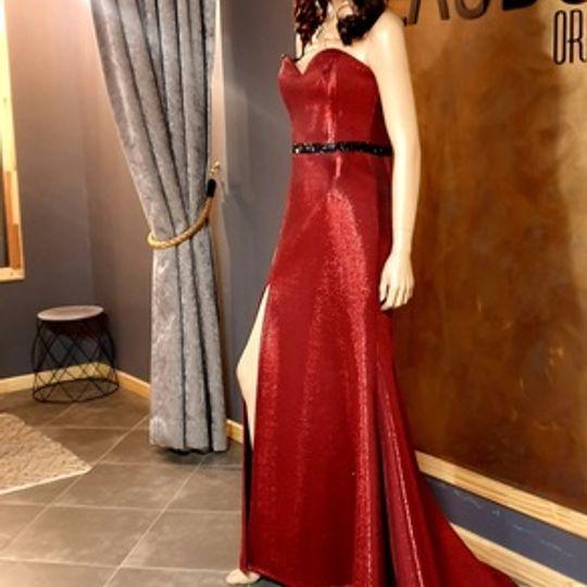 MAROON FOIL DRESS