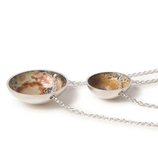 Unfinished half domed necklace
