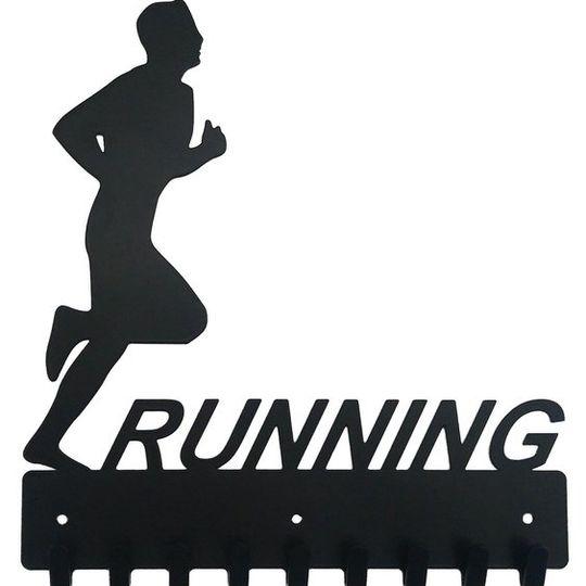 Runners Key Rack & Leash Hanger - 9 Hooks - Black