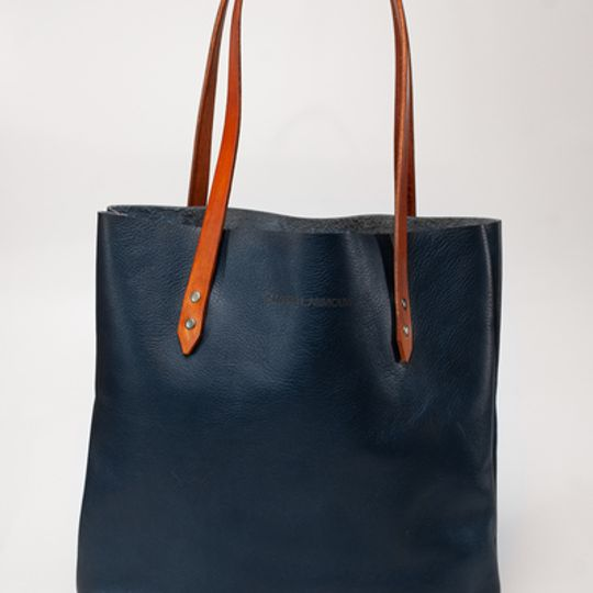 The Leather Totebag - Navy