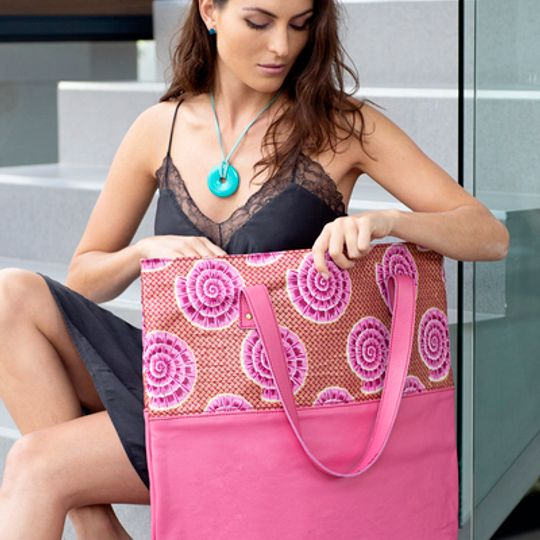 Limited Edition - Large Leather and African Print Tote