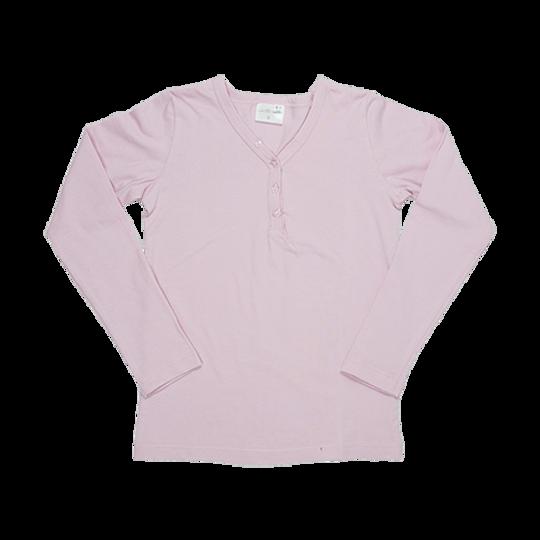 Kids Long Sleeve Top - Buttons Pink