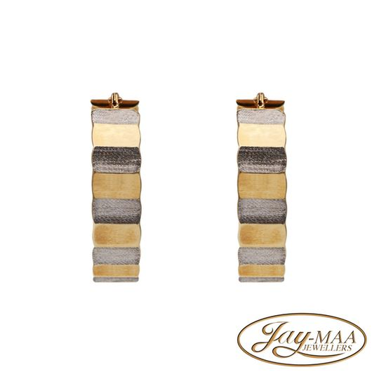 9ct Yellow & White Gold Hoops Earrings