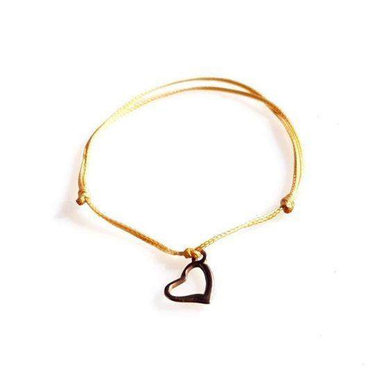DAINTY Single Thread Bracelet Heart - Beige