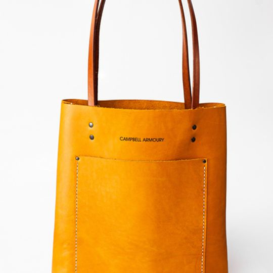 The Leather Long shopper - Mustard