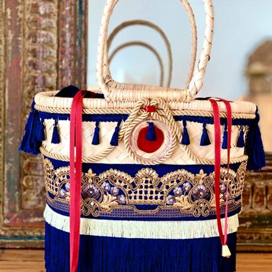 Gootchi Basket Tote Handbag/Navy Blue and Gold
