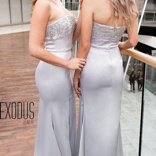 GRAY BEADED SLIT DRESS