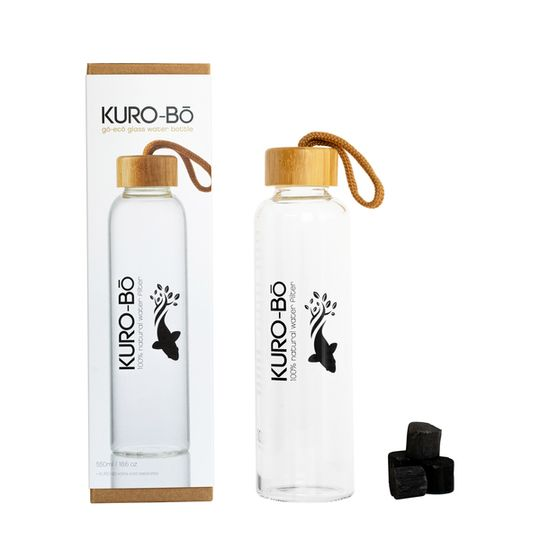 Kuro-bo Go-Eco Glass Water Bottle 550ml