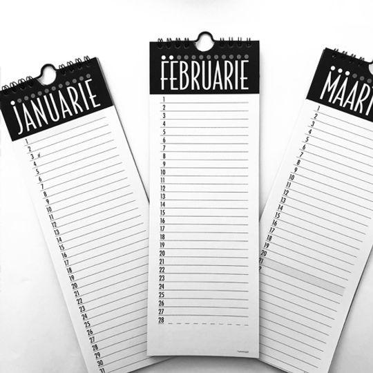 Long Afrikaans Calendar/Month Planner