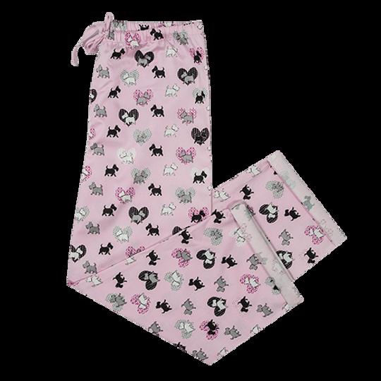 Girls Long Pants Scotty Dogs Pink