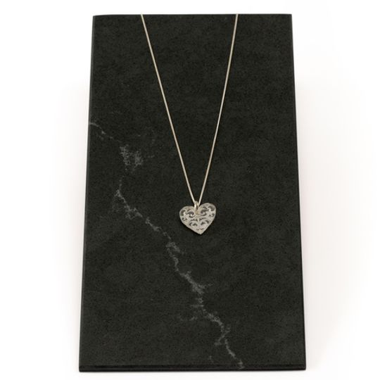 Perspex Small Filigree Heart Necklace