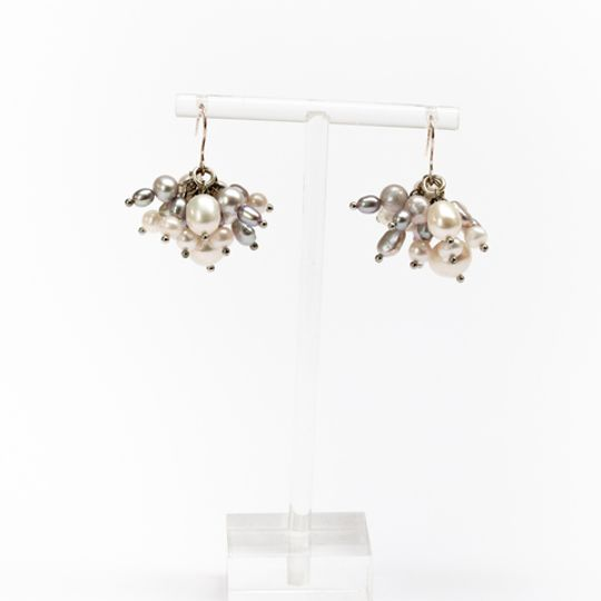 Cluster Earrings - Silver & Pearl