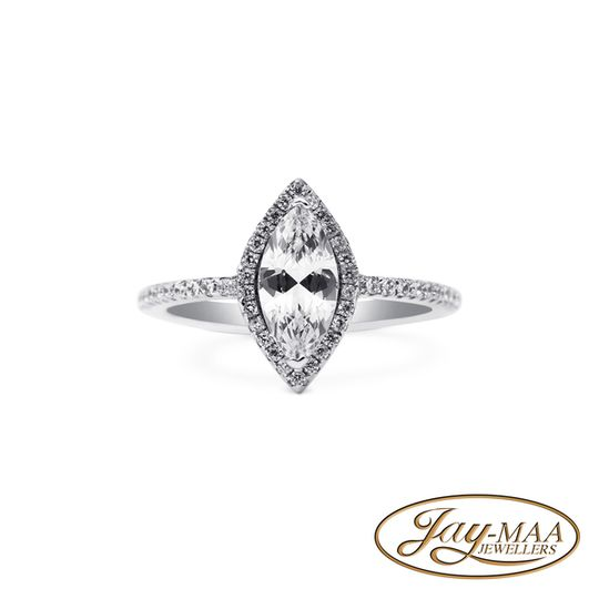 Sterling Silver Marquise Halo Ring