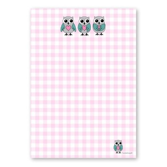 A6 Notebook - Owls & Pink Check