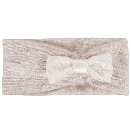 Headband / Girls - Cream with Lace Bow - M0065