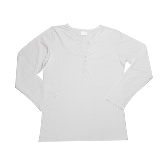 Ladies Long Sleeve - Buttons White