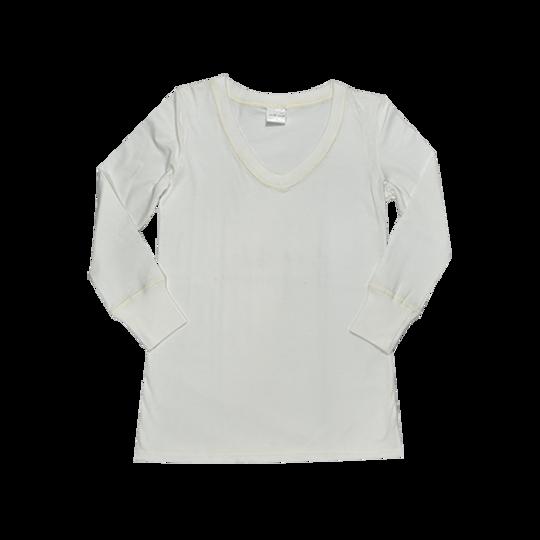 Ladies Long Sleeve - V-Neck Cream