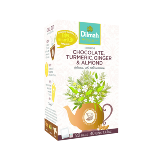 Dilmah Red Rooibos with Chocolate, Turmeric, Ginger & Almond (20 x 2g tagged tea bags)