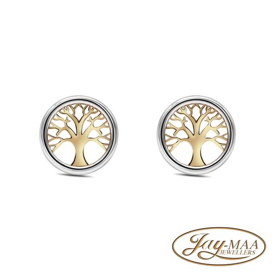 9ct Yellow and White Gold Stud Earrings - Tree of Life