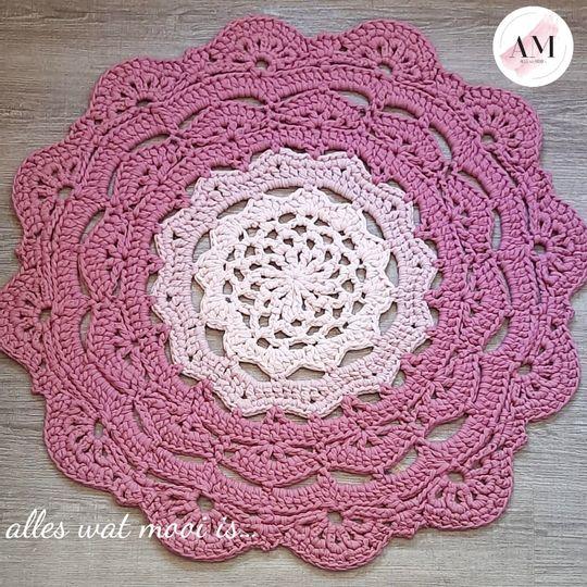 Crochet Pink Flower Rug