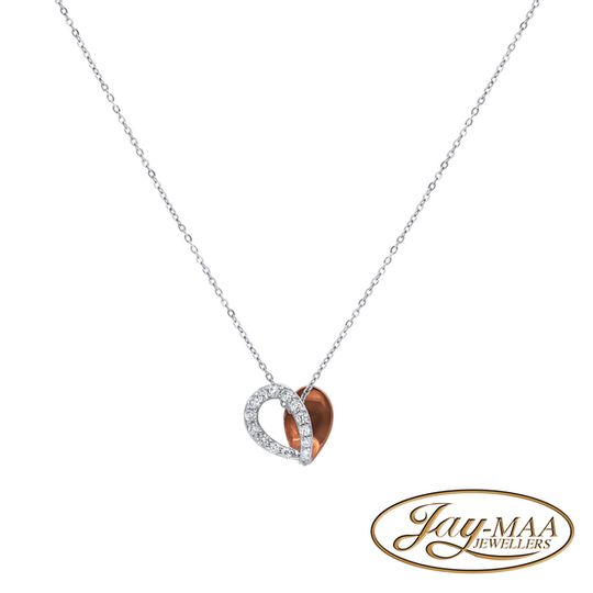 9ct White and Rose Gold Diamond Necklace with Pendant - Fancy Heart