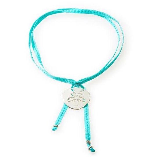FEISTY Ribbon Necklace & Choker Pansy Shell / Sand dollar - Emerald