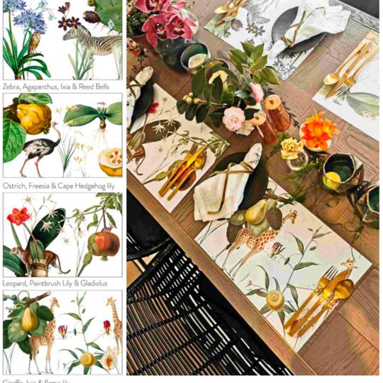 Fauna and Flora Vinyl Placemats