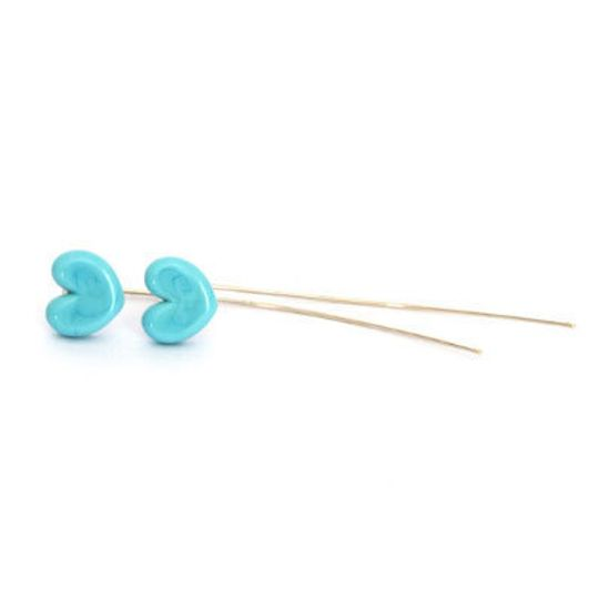 Long Silver & Glass Heart Studs