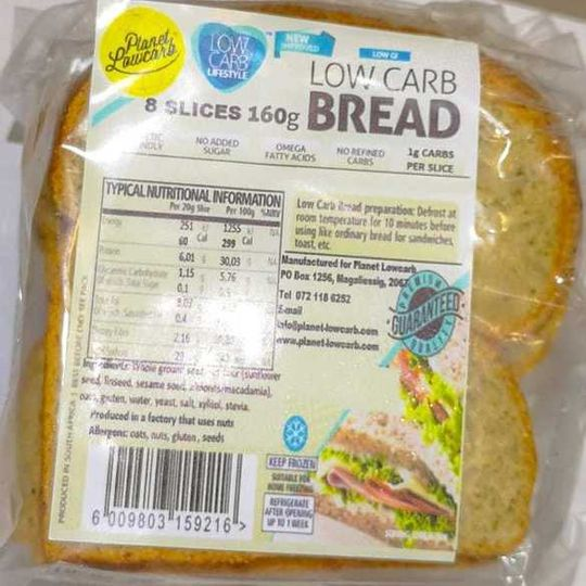 Low Carb Bread Slices (160g)